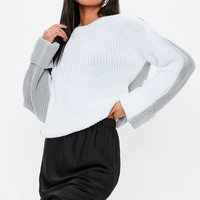 Missguided - Gray Colorblock Splice Crew Neck Sweater
