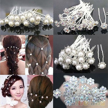 20Pcs Fashion Wedding Bridal Pearl Flower Crystal Hairpin Hair Clips Bridesmaid [7983225223]