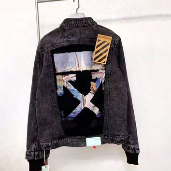 Off-white fashion sells denim jackets for men and women with watercolor arrowhead paintings and graffiti