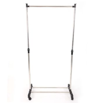 Single-bar Vertical & Horizontal Stretching Stand Clothes Rack with Shoe Shelf YJ-01G Silver