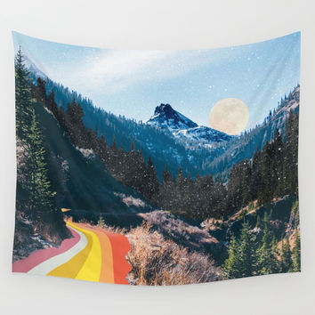 1960's Style Mountain Collage Wall Tapestry by justinek28