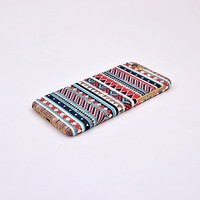 Iphone 6/6s Case, Red and Blue Aztec Geometric on Wood Pattern 3d-sublimated, Mobile Accessories.