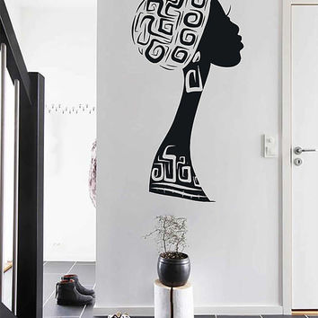 African woman wall decals Afro Wall Decal African Art Afro Wall Art African Decals Hairstyle Decals Afro Hair Art kik3328