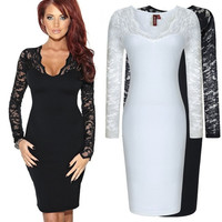 Dropshipping 2014 New Fall Winter Women Elegant Vintage Long Sleeve Sexy Lace Bodycon Deep V-Neck Stretchy Party Dresses S-XXL = 1931827652