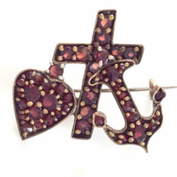 Bohemian Garnet Brooch, Victorian, Faith Hope Charity, Vintage SALE