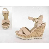 Royce Criss Cross Cork Wedge Sandals
