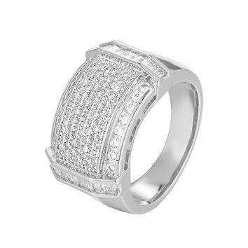 14K White Gold Finish Iced Out Men's Baguette Ring