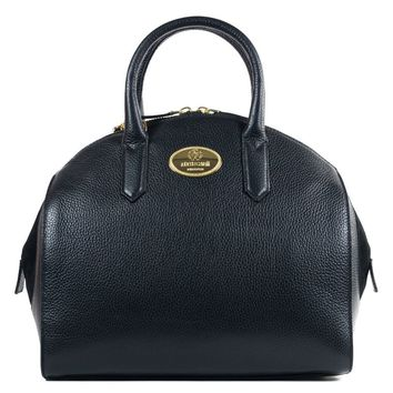 Roberto Cavalli Womens Black Grained Leather Bowler Handbag