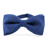 Bow Tie by BartekDesign blue linen wedding gift for grooms