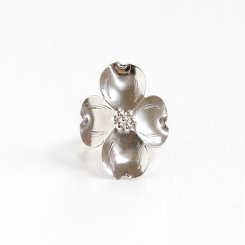 Vintage Sterling Silver Dogwood Flower Ring - Retro Mid-Century 1950s 1960s Flower Blossom Statement Adjustable Floral Jewelry