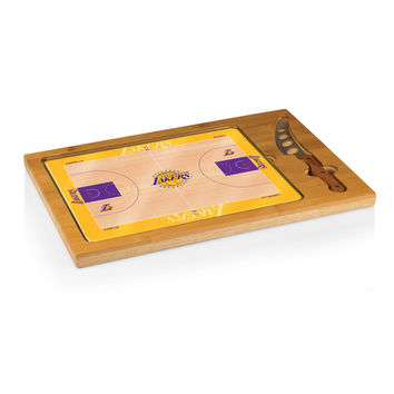 Los Angeles Lakers - 'Icon' Glass Top Serving Tray & Knife Set by Picnic Time (Basketball Design)