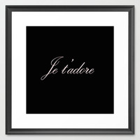 Typography Print - Canvas Art - Je T' Adore - Wall Decor - Typography Print - Black and Pink  - Typography Canvas - Paris - French Decor