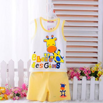 summer boys Kids Clothes suit Mickey sleeveles vest 2pcs toddler boys clothes Sports children Suit baby Boys Clothing Set