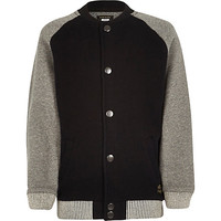 River Island Boys black and grey contrast bomber jacket
