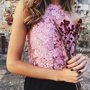 Applique Pink Lace Halter Crop Top