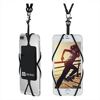 Cell Phone Lanyard Strap, Universal Smartphone Case Cover Holder Lanyard Necklace Wrist Strap With ID Card Slot For iPhone 7 6S 6 Plus Galaxy S7 S6 Edge Note 5 4 3 and Other Mobile Phones
