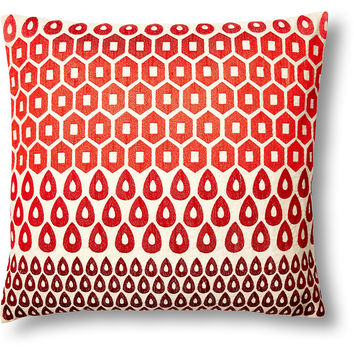 Megha 20x20 Cotton Pillow, Red, Decorative Pillows