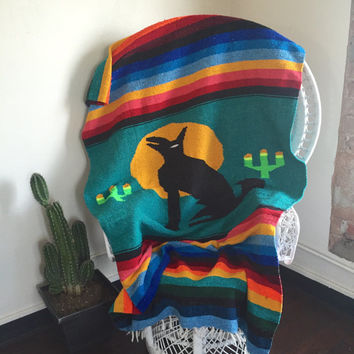 Woven Southwestern Mexican Camp Blanket | Serape Wool Colorful Stripes with Cacti Coyote Bedspread Large Blanket Throw Howling Wolf Cactus