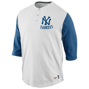 Nike New York Yankees Cooperstown Collection Old School Washed Three-Quarter Sleeve Henley - Natural