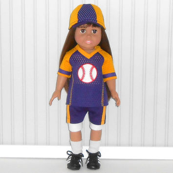 American Girl or Boy Doll Clothes Purple and Gold Baseball Uniform with Hat and Knee Pads and Optional Cleats fits 18 inch dolls