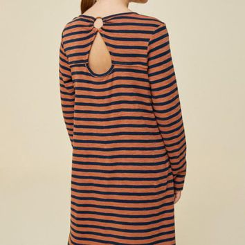 Hayden Striped Keyhole Shirt Dress