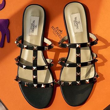 Valentino  Women Fashion Simple Casual   Sandals Flats Shoes