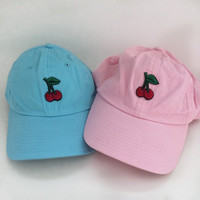cherry embroidered hat