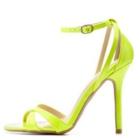 Neon Yellow Single Sole Ankle Strap Heels by Charlotte Russe