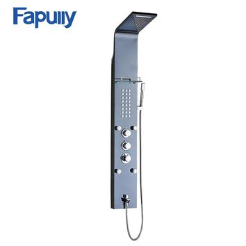 Fapully Stainless Steel Rain Waterfall Shower Panel Wall Mounted Thermostatic Faucet with Jets Handshower Shower Set Column LY-1