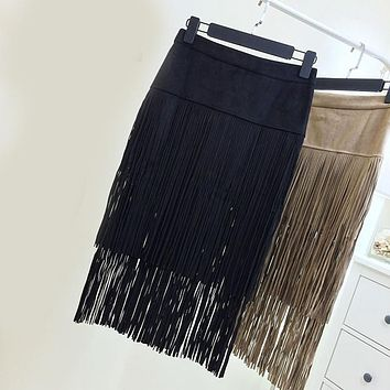 2016 New Spring Europe Fashion Retro Sexy Tassel Leather Skirt Double Fringed Package Hip Skirts High Waist Skirt Women Saias
