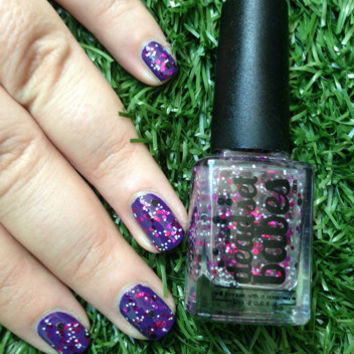 "Nail Polish ""Galaxy"" Black, Pink, Purple & White glitter Full Size 12ml"