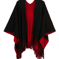Black & Red Fringed Hem Reversible Knitted Cape
