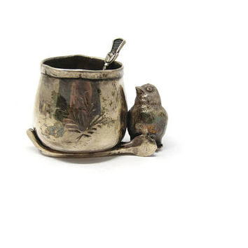 Antique Victorian Royal Silver Plate Figural Chick Wishbone Toothpick Holder - Triple Silver Plate Bird Toothpick Holder Silverplated