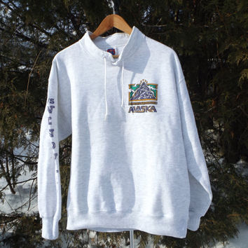 90s Sweatshirt Alaska Adventure Vintage Jumper Hike Kayak Bike Alaska Size Medium 90s Clothing Drawstring Collar Comfy Sweater