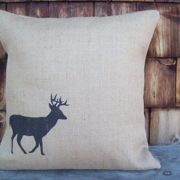 Burlap Deer Decorative Pillow Cover 20 x 20 by North Country Comforts / Deer Pillow Cover / Cabin and Lodge Decor