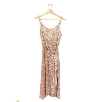 COCOA & CREAM dress. Vintage slip dress. Long Sexy Sun Dress. SHEER sundress. Spaghetti Straps. Minimal Flowing Flutter Dress. Small Medium