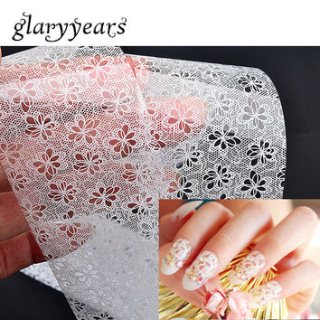 11 Designs 1 Piece Wedding White Flower Lace Nail Transfer Sticker DIY Nail Art Wrap Decal Polish Manicures Tool for Bride Women