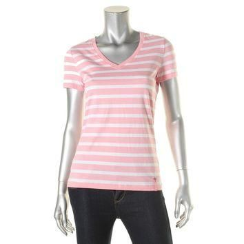 LRL Ralph Lauren Womens Striped V-Neck T-Shirt