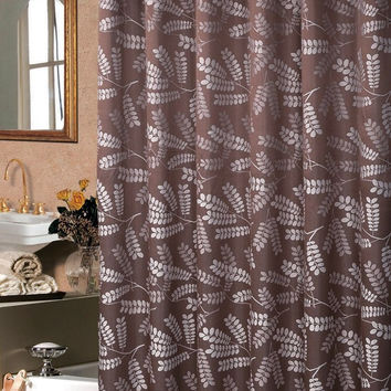 Brookdale Luxury Chocolate Shower Curtain 72x72""