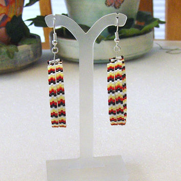 Hoop Earrings Beaded In Traditional Fire Colors With A Silver Feather Center Dangle Charm/Drop Dangle Earrings/Accessories/Jewelry
