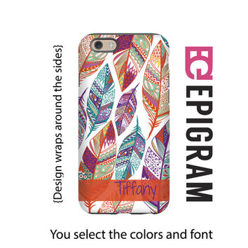 Boho iPhone 6s case, tribal feathers personalized iPhone 6 plus case, iPhone 5c case, iPhone 5s case, 3D wrap around case, tough iPhone case