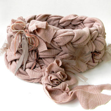 Romantic Cottage Chic Bid Braided Cowl-Loop Neckwarmer in Carnation Pink with Tulle and Leather Bows, Chunky Knit Scarf/Nude Wide Collar