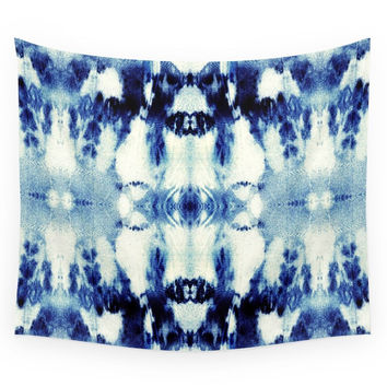 Society6 Tie Dye Blues Wall Tapestry