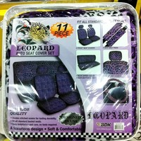Seat Cover 11pc - Leopard Purple