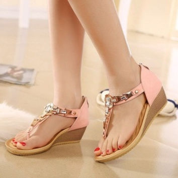2015 summer new large size shoes wedge sandals flip flat sandals rhinestone students = 1753571652