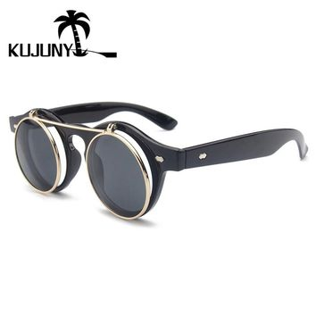 KUJUNY Double Clamshell Round Retro Sunglasses Gothic Steampunk Men Sun Glasses Vintage Steam Punk Eyeglasses Circular Eyewear