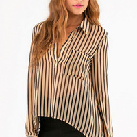 Landing Stripes Chiffon Top $30