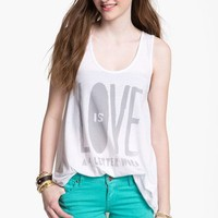 Malibu Native 'Love is a 4-Letter Word' Tunic Tank (Juniors) | Nordstrom