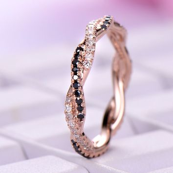 Black/Clear Diamond Wedding Band Eternity Anniversary Ring 14K Rose Gold Twist Unique
