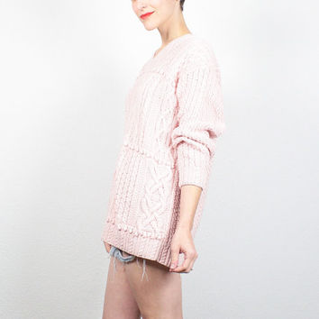 Vintage 80s Sweater Cable Knit Sweater Pale Pink Jumper Textured Hand Knit Pullover 1980s Preppy Sweater Oversize Fisherman Sweater L Large